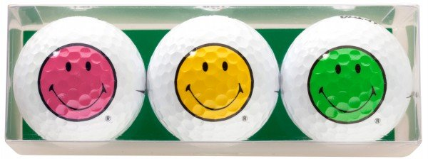 Smiley Happy Colors 3 Golfbälle