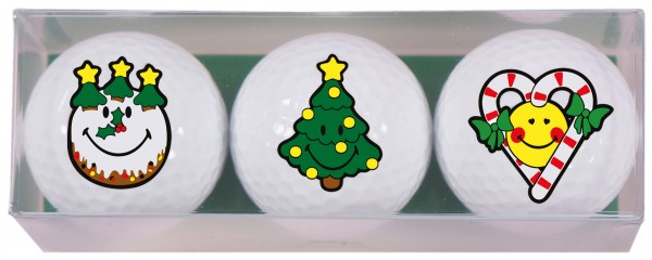 Smiley Xmas - 3 Golfbälle X3