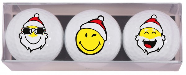 Smiley Xmas - 3 Golfbälle X1