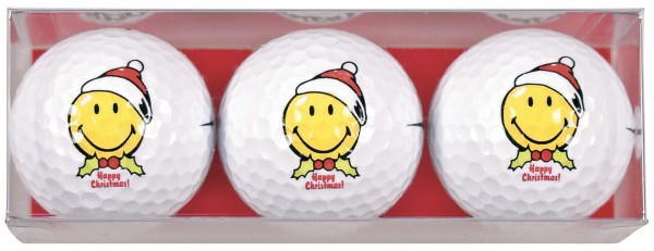 Smiley Xmas - 3 Golfbälle