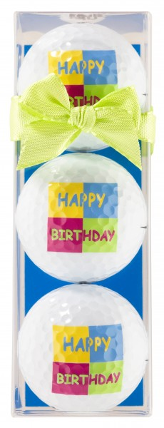 Happy Birthday Quadrat 3 Golfbälle