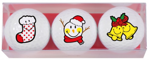 Smiley Xmas - 3 Golfbälle X7