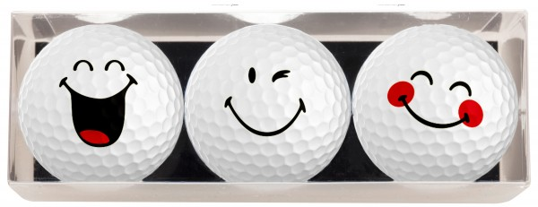 3 Golfbälle mit Smiley Motiven